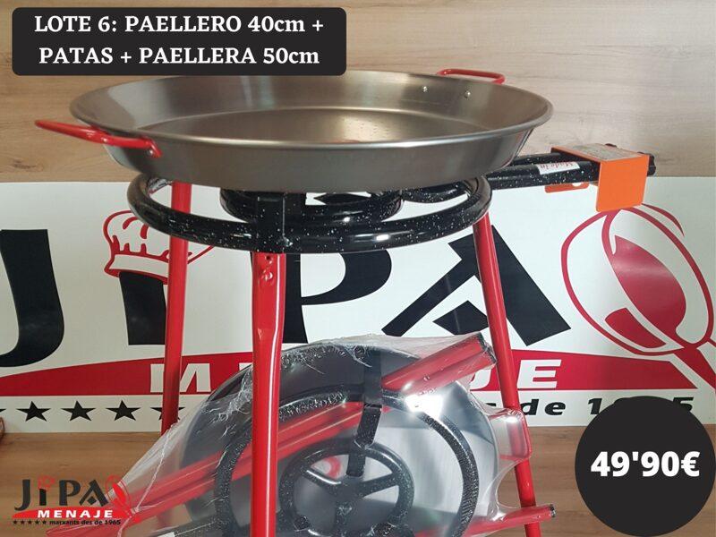 Lote: Paellero 40cm. + Patas + Paellera 50 cm.