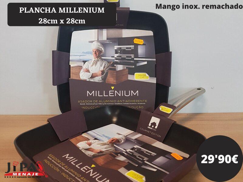 Plancha Millenium 28 cm.  X 28 xm. Mango Inox. Remachado