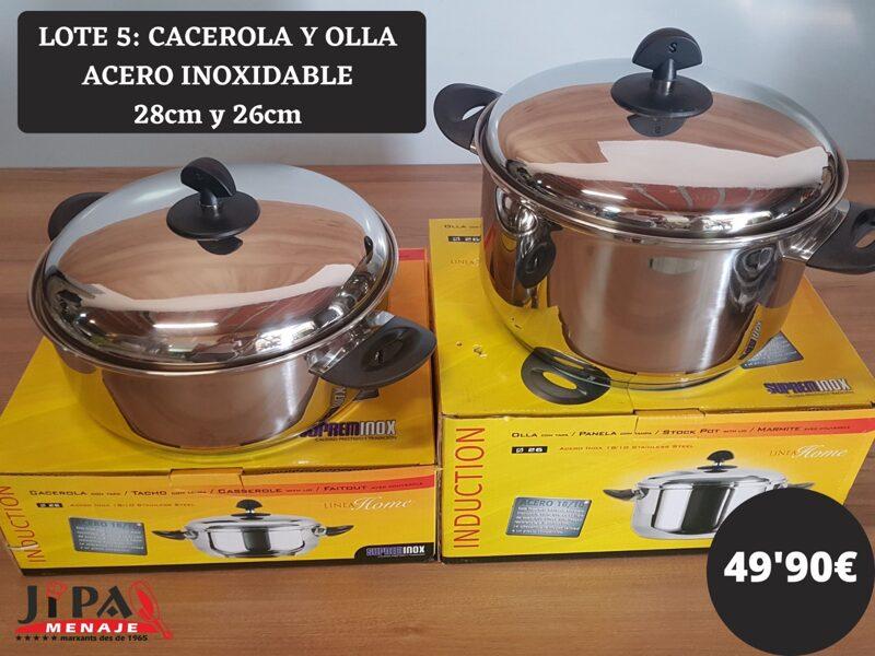 Lote Cacerola y Olla de acero inoxidable 28 y 26cm.